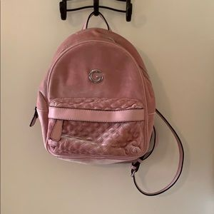 G by Guess velour backpack purse